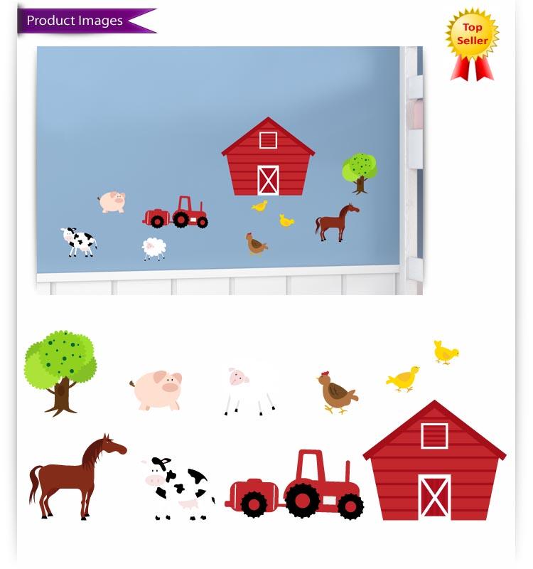 Kids Room Wall Decals Farm Wall Decals Farm Animal Decals: Childrens Farm Animals Nursery Bedroom Vinyl Wall Stickers